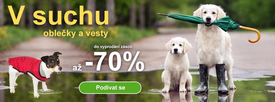 70% sleva na oblečky a vesty pro psy