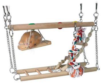 Houpačka do klece - dvě patra + hračky 27x16x10cm, Trixie
