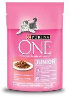 Purina ONE Junior Mini filetky s lososem a mrkví ve šťávě 85g