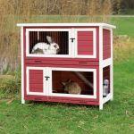 Natura králíkárna 116x111x65cm, dvoupatrová,  červeno-bílá