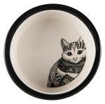 Keramická miska Zentangle pro kočky 0,3l/12cm bílo/černá