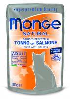 MONGE NATURAL kapsička tuňák v želé s lososem pro kočky 80g
