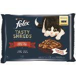 FELIX TASTY SHREDS hovězí a kuře ve šťávě 4x80g