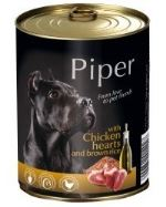 PIPER konzerva Kuřecí srdíčka s hnědou rýží 800g