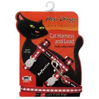 Postroj RD s vodítkem - kočka - Ref. Červená