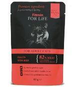 Fitmin for Life masová kapsička pro kočky Adult Beef 85g