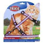 Postroj pro kočku s vodítkem XL fialový 34-57/13mm