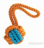 Kombinovaný Monty míč přírodní guma a bavlna s poutkem 29cm KIDDOG