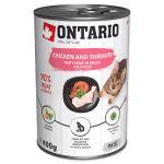 Konzerva ONTARIO kuřecí kousky a krevety s rýží a lososovým olejem pro koťata 400g