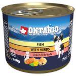 Konzerva ONTARIO se třemi druhy ryb, lososovým olejem a bylinkami 200g