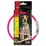 Obojek DOG FANTASY LED nylonový růžový S/M 45cm