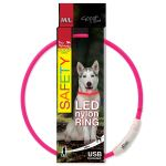 Obojek DOG FANTASY LED nylonový růžový M/L 65cm
