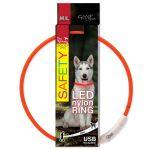 Obojek DOG FANTASY LED nylonový oranžový M/L 65cm