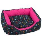 Sofa DOG FANTASY origami pes mix černo-růžové 53x43x16cm