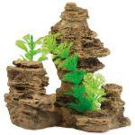 Dekorace AQUA EXCELLENT Skála s rostlinou 14cm
