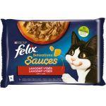Felix Sensations Sauces s krůtou a jehněčím v omáčce 4x85g